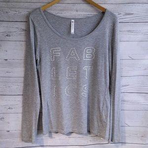 Fabletics | Silver Foil Logo Tee Long Sleeved Sm ⬇